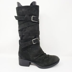 Gianni Bini Leather Black Buckle Riding Boots